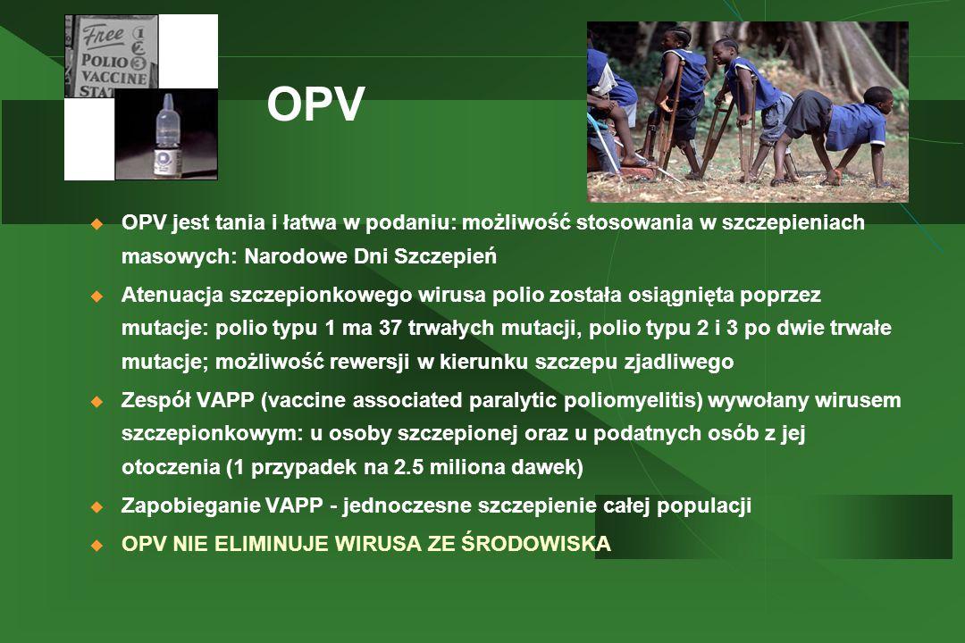 OPV  OPV jest tania i łatwa w podaniu: możliwość stosowania w szczepieniach masowych: Narodowe Dni Szczepień  Atenuacja szczepionkowego wirusa polio została osiągnięta poprzez mutacje: polio typu 1 ma 37 trwałych mutacji, polio typu 2 i 3 po dwie trwałe mutacje; możliwość rewersji w kierunku szczepu zjadliwego  Zespół VAPP (vaccine associated paralytic poliomyelitis) wywołany wirusem szczepionkowym: u osoby szczepionej oraz u podatnych osób z jej otoczenia (1 przypadek na 2.5 miliona dawek)  Zapobieganie VAPP - jednoczesne szczepienie całej populacji  OPV NIE ELIMINUJE WIRUSA ZE ŚRODOWISKA