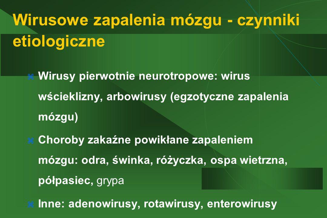 Wirusowe zapalenia mózgu - czynniki etiologiczne  Wirusy pierwotnie neurotropowe: wirus wścieklizny, arbowirusy (egzotyczne zapalenia mózgu)  Choroby zakaźne powikłane zapaleniem mózgu: odra, świnka, różyczka, ospa wietrzna, półpasiec, grypa  Inne: adenowirusy, rotawirusy, enterowirusy