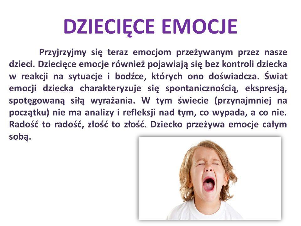 Przyjrzyjmy się teraz emocjom przeżywanym przez nasze dzieci. Dziecięce emocje również pojawiają się bez kontroli dziecka w reakcji na sytuacje i bodź