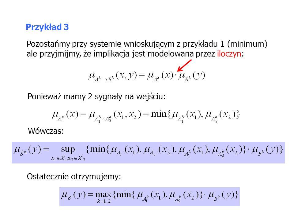 Pozostańmy przy systemie wnioskującym z przykładu 1 (minimum) ale przyjmijmy, że implikacja jest modelowana przez iloczyn: Przykład 3 Ostatecznie otrz