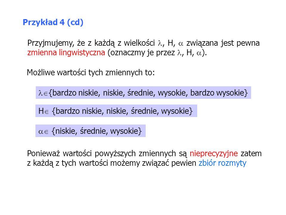 Przyjmujemy, że z każdą z wielkości, H,  związana jest pewna zmienna lingwistyczna (oznaczmy je przez, H,  ). Możliwe wartości tych zmiennych to: 