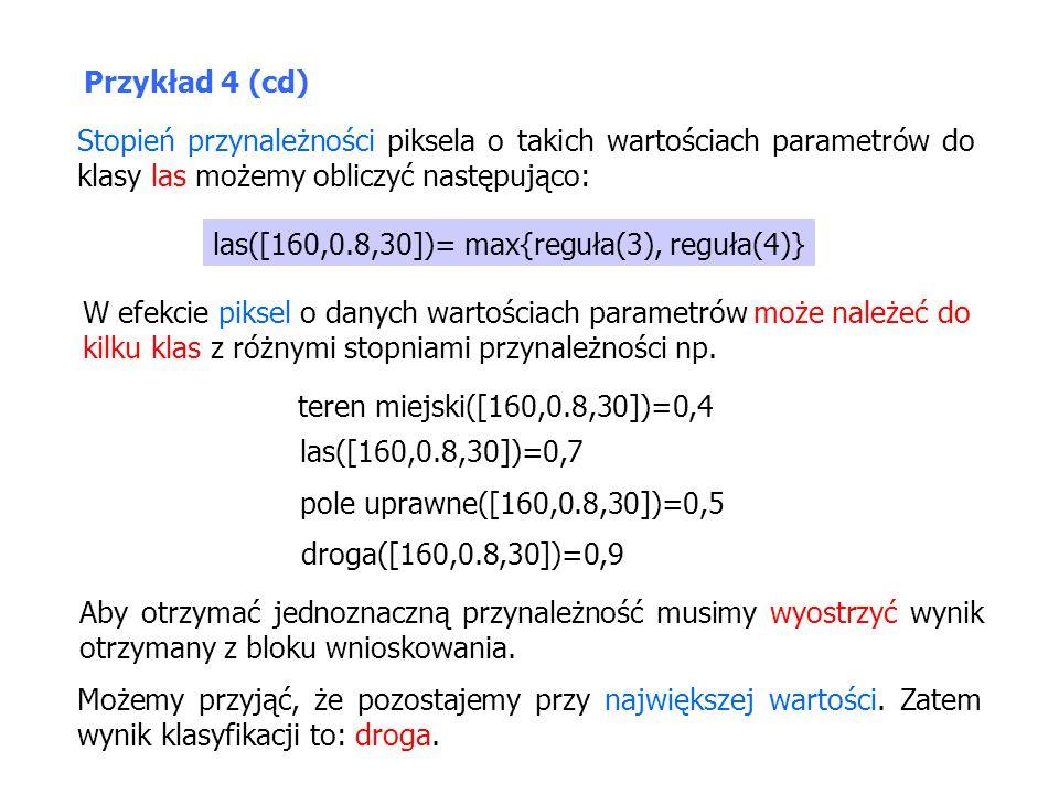 Stopień przynależności piksela o takich wartościach parametrów do klasy las możemy obliczyć następująco: las([160,0.8,30])= max{reguła(3), reguła(4)}