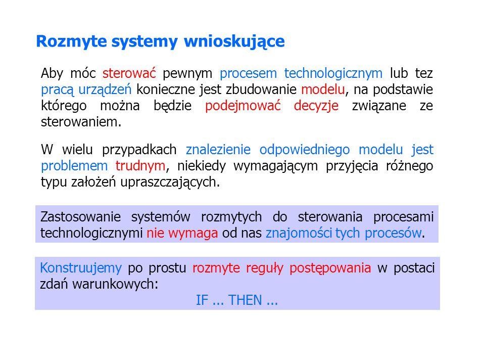 Rozmyte systemy wnioskujące Konstruujemy po prostu rozmyte reguły postępowania w postaci zdań warunkowych: IF... THEN... Aby móc sterować pewnym proce