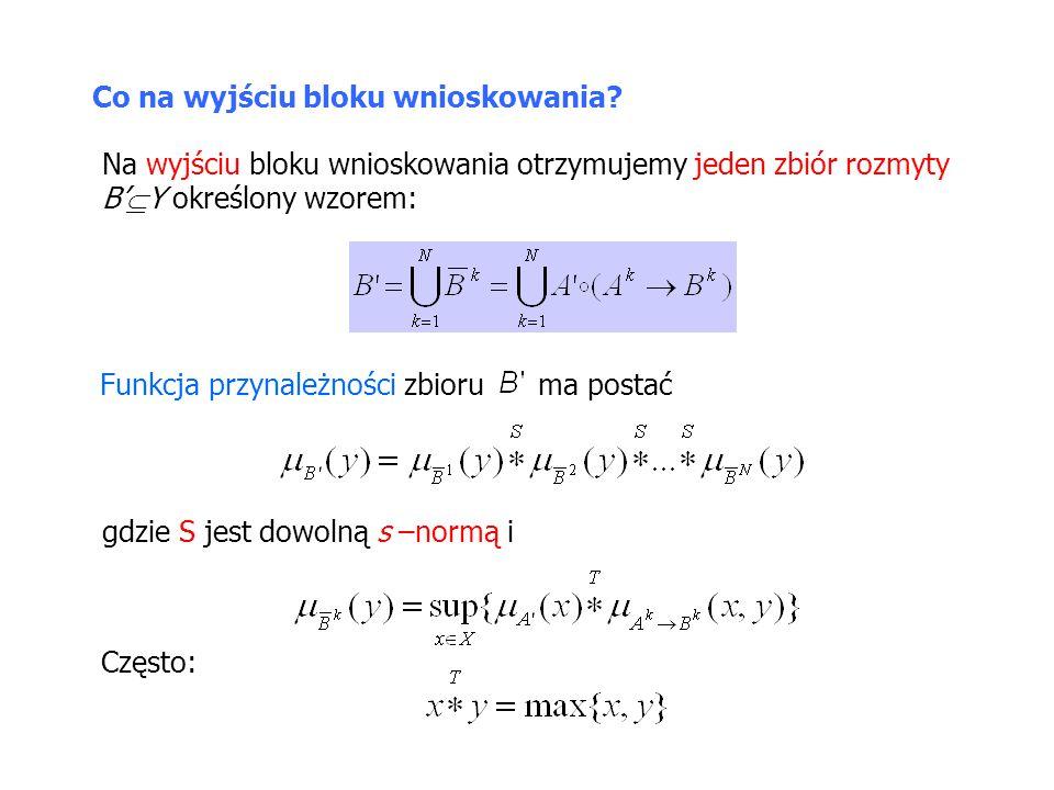 Blok rozmywania – przykład Rozważmy rozmyty system wnioskujący z bazą reguł: R 1 : JEŻELI x 1 jest A 1 1 I x 2 jest A 2 1 TO y jest B 1 R 2 : JEŻELI x 1 jest A 1 2 I x 2 jest A 2 2 TO y jest B 2 Na wejście sterownika podano sygnał W wyniku rozmywania typu singleton otrzymujemy zbiory rozmyte o funkcjach przynależności
