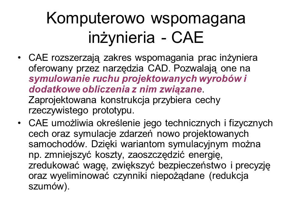 Komputerowo wspomagana inżynieria - CAE CAE rozszerzają zakres wspomagania prac inżyniera oferowany przez narzędzia CAD.