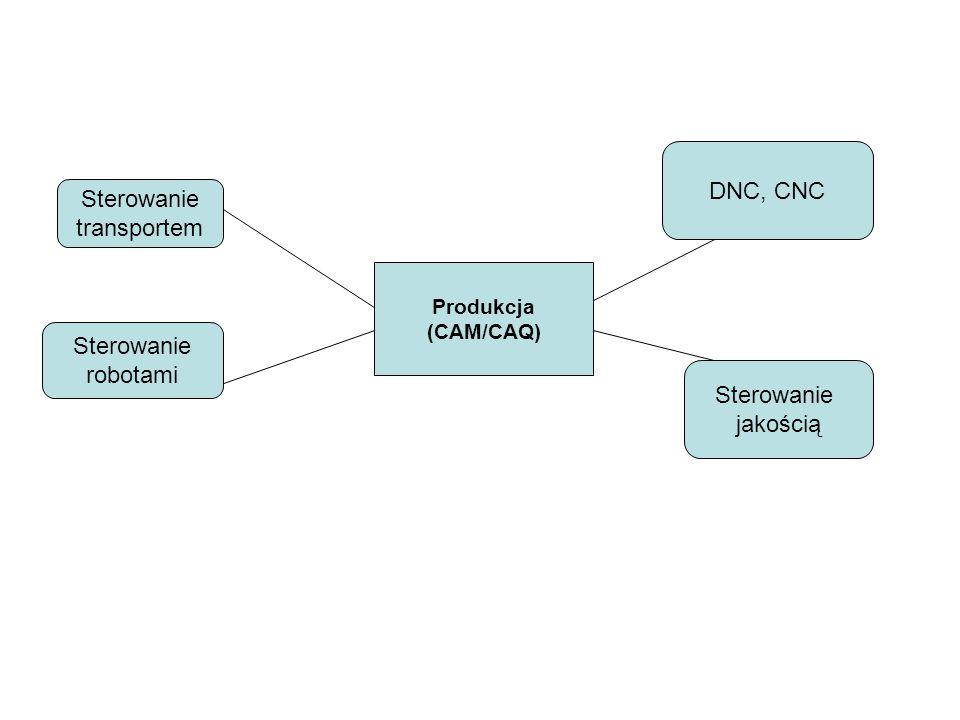 Produkcja (CAM/CAQ) Sterowanie transportem DNC, CNC Sterowanie jakością Sterowanie robotami