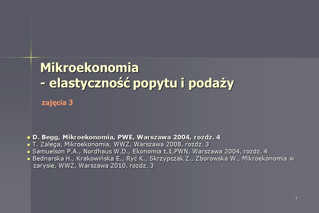 1 Mikroekonomia - elastyczność popytu i podaży D. Begg, Mikroekonomia, PWE, Warszawa 2004, rozdz. 4 D. Begg, Mikroekonomia, PWE, Warszawa 2004, rozdz.
