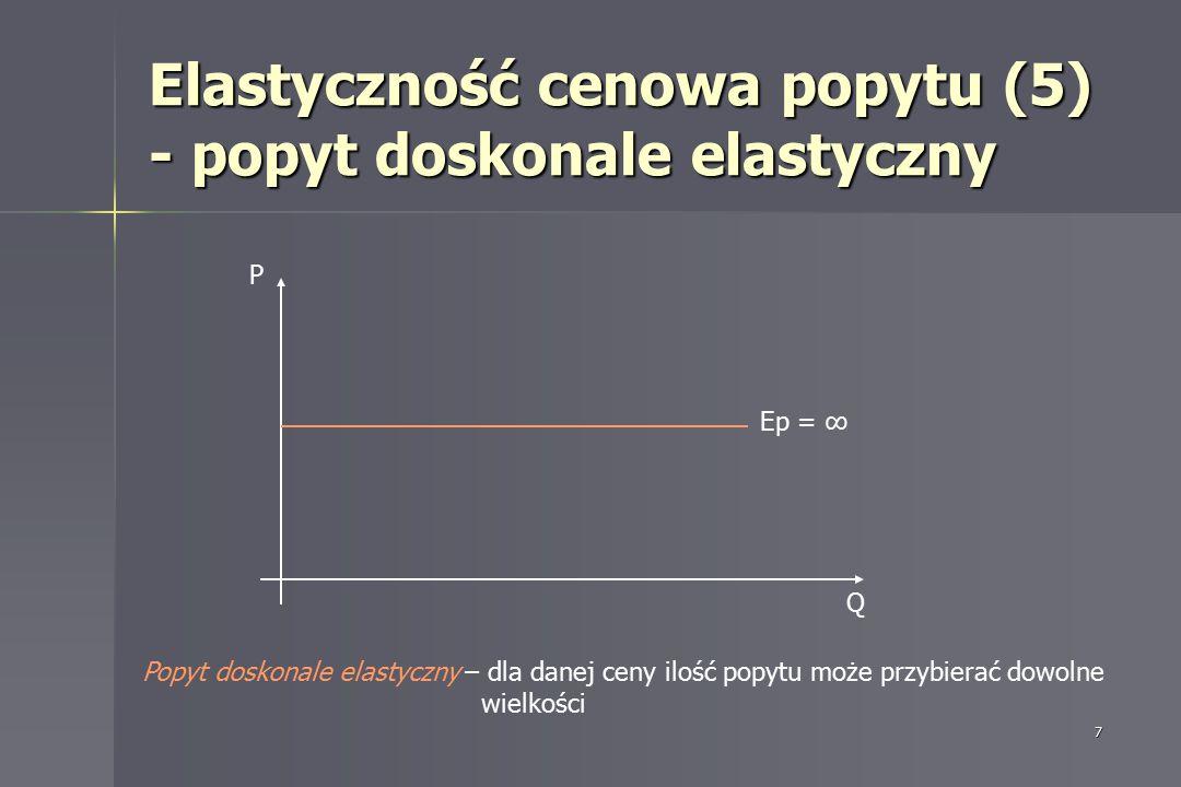 7 Elastyczność cenowa popytu (5) - popyt doskonale elastyczny P Q Ep = ∞ Popyt doskonale elastyczny – dla danej ceny ilość popytu może przybierać dowo