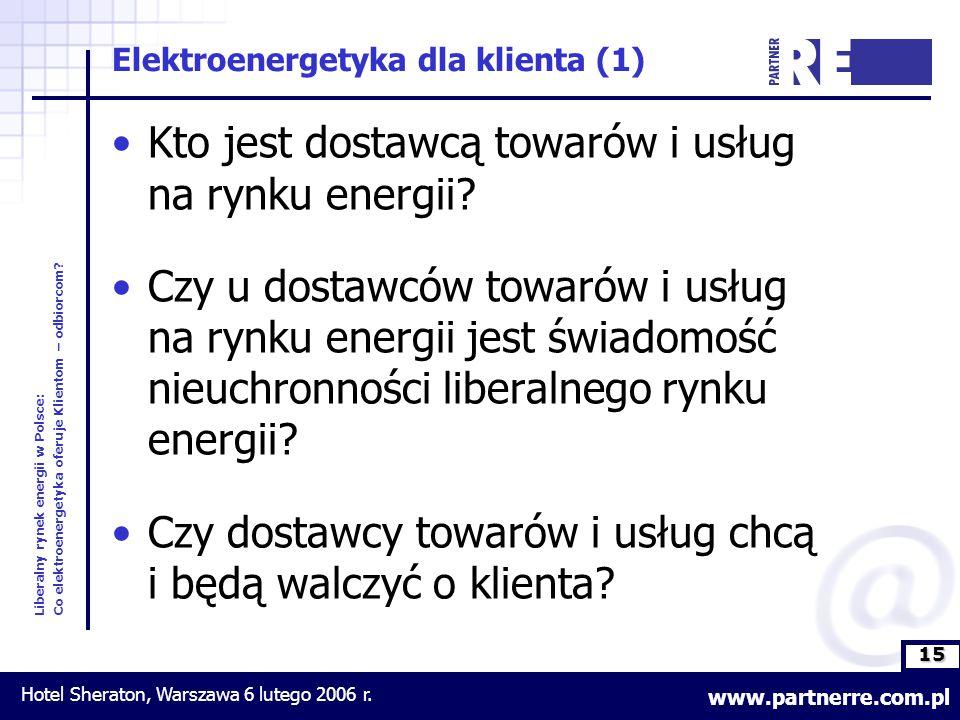 15 Liberalny rynek energii w Polsce: Co elektroenergetyka oferuje Klientom – odbiorcom.