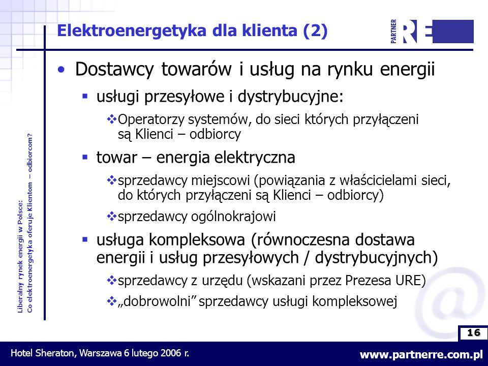 16 Liberalny rynek energii w Polsce: Co elektroenergetyka oferuje Klientom – odbiorcom.