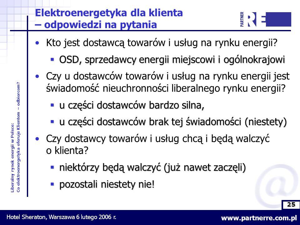 25 Liberalny rynek energii w Polsce: Co elektroenergetyka oferuje Klientom – odbiorcom.