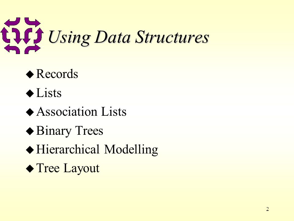 2 Using Data Structures u Records u Lists u Association Lists u Binary Trees u Hierarchical Modelling u Tree Layout