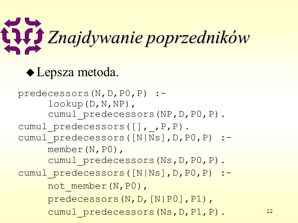 22 Znajdywanie poprzedników u Lepsza metoda. predecessors(N,D,P0,P) :- lookup(D,N,NP), cumul_predecessors(NP,D,P0,P). cumul_predecessors([],_,P,P). cu