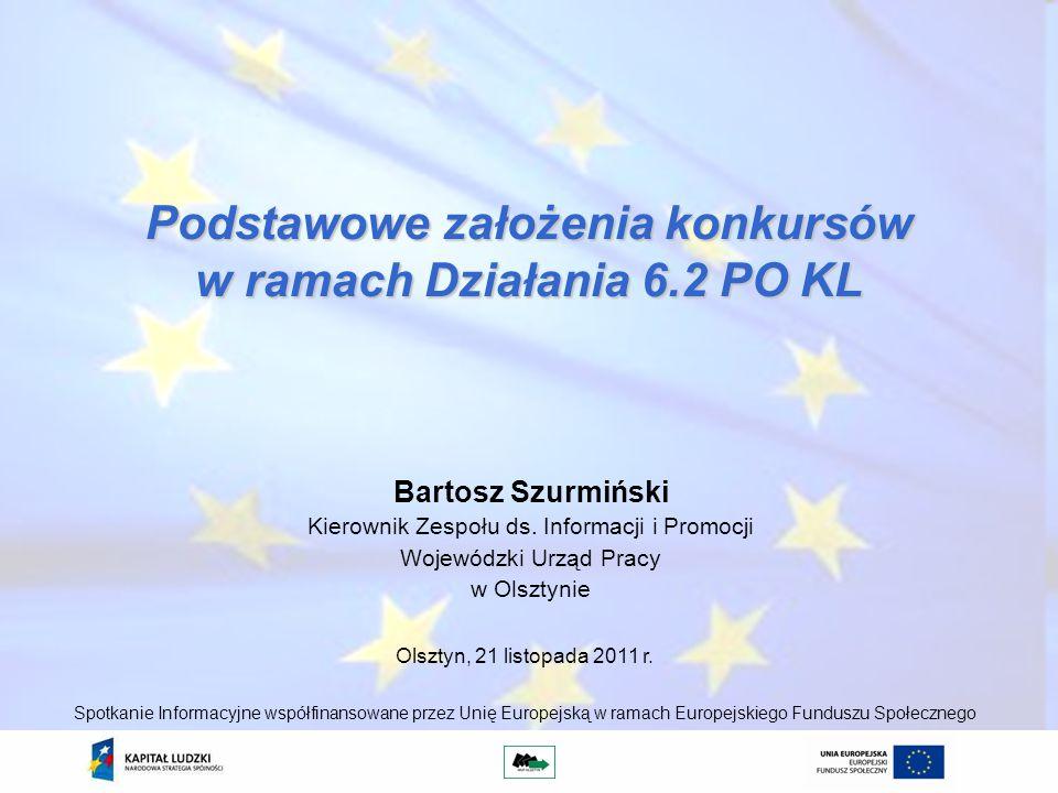 Podstawowe założenia konkursów w ramach Działania 6.2 PO KL Bartosz Szurmiński Kierownik Zespołu ds.