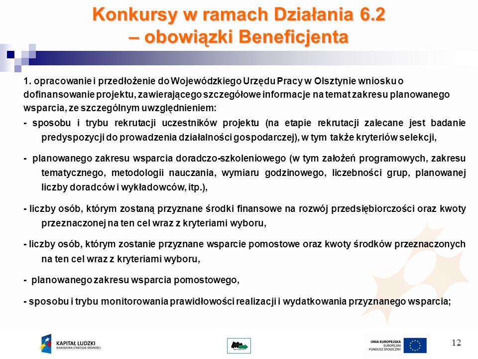 12 Konkursy w ramach Działania 6.2 – obowiązki Beneficjenta 1.