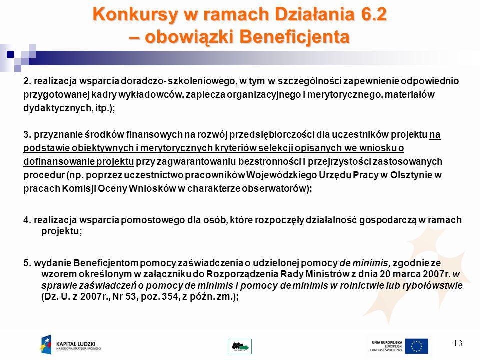 13 Konkursy w ramach Działania 6.2 – obowiązki Beneficjenta 2.