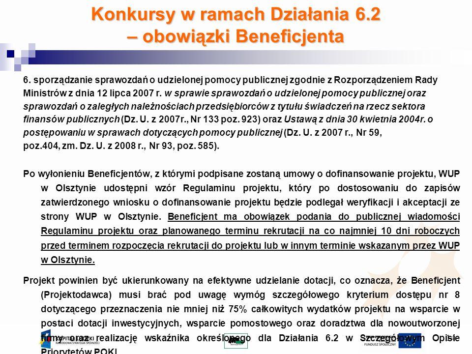 14 Konkursy w ramach Działania 6.2 – obowiązki Beneficjenta 6.