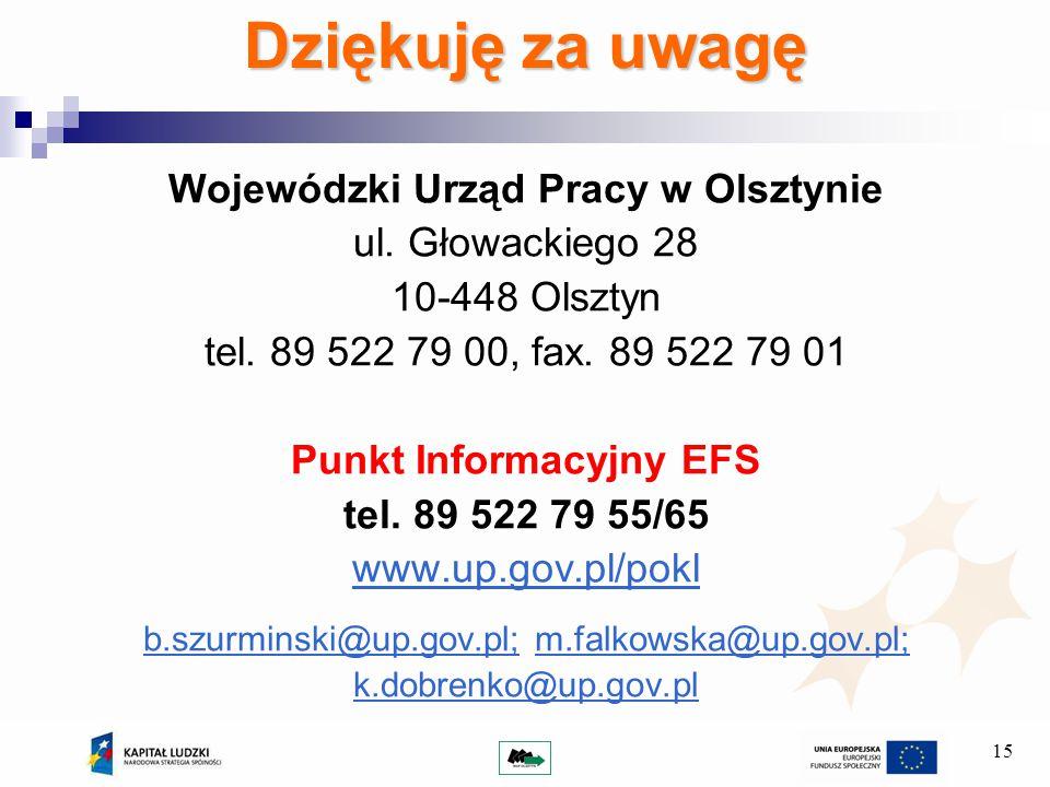 15 Dziękuję za uwagę Wojewódzki Urząd Pracy w Olsztynie ul.