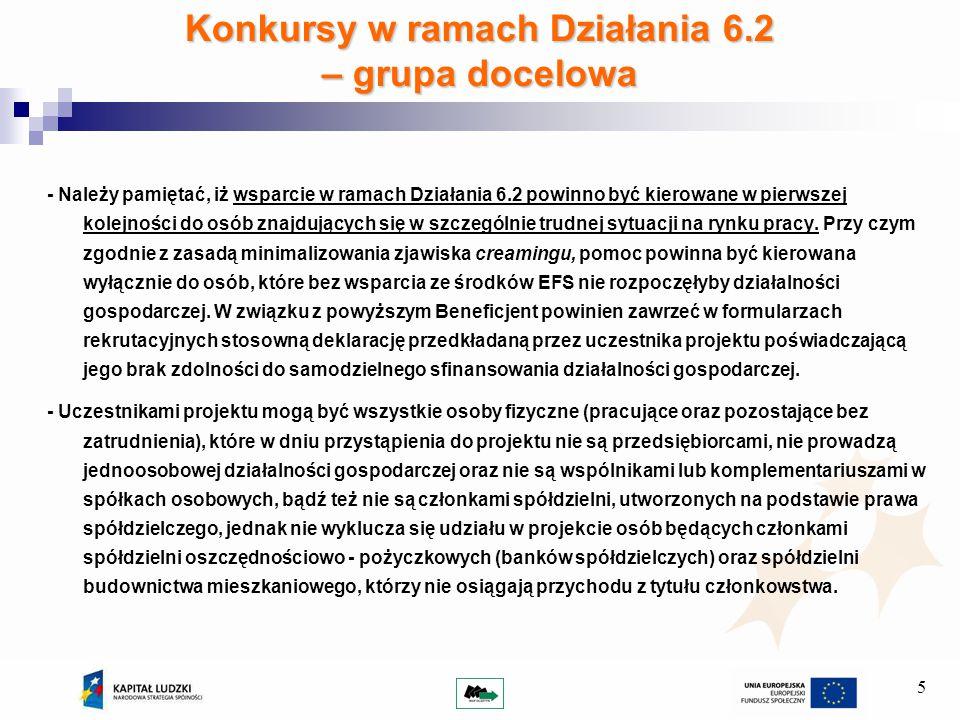 5 Konkursy w ramach Działania 6.2 – grupa docelowa - Należy pamiętać, iż wsparcie w ramach Działania 6.2 powinno być kierowane w pierwszej kolejności do osób znajdujących się w szczególnie trudnej sytuacji na rynku pracy.