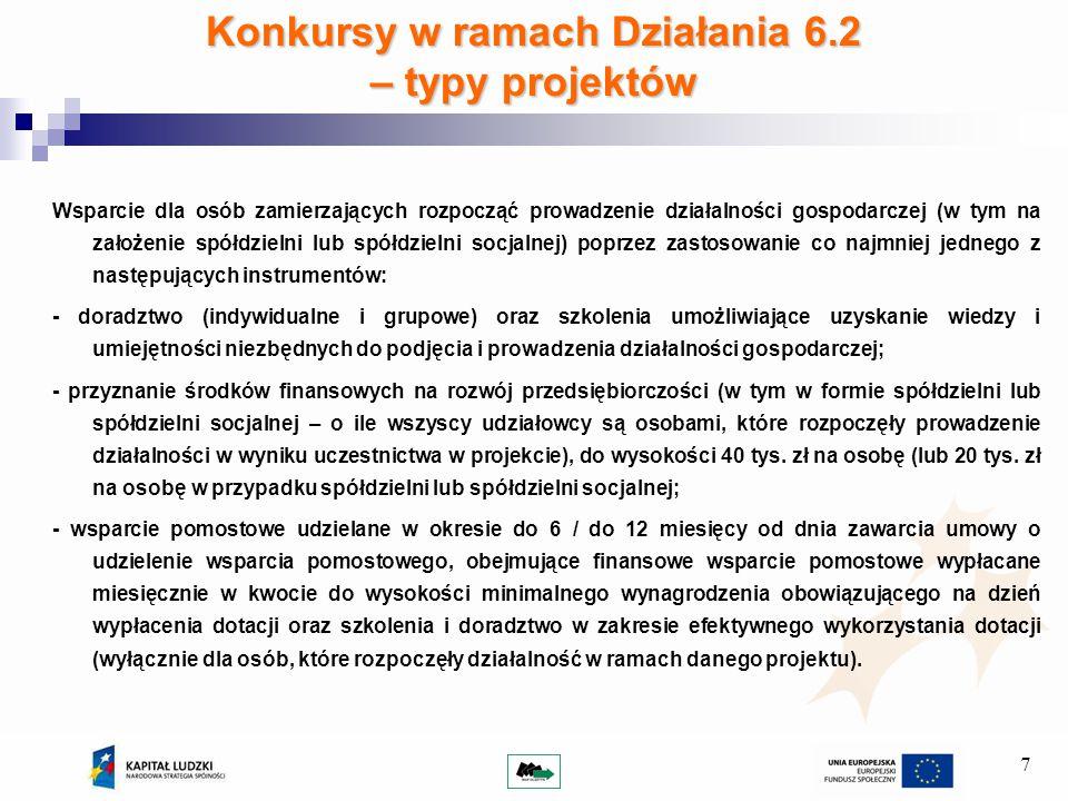 7 Konkursy w ramach Działania 6.2 – typy projektów Wsparcie dla osób zamierzających rozpocząć prowadzenie działalności gospodarczej (w tym na założenie spółdzielni lub spółdzielni socjalnej) poprzez zastosowanie co najmniej jednego z następujących instrumentów: - doradztwo (indywidualne i grupowe) oraz szkolenia umożliwiające uzyskanie wiedzy i umiejętności niezbędnych do podjęcia i prowadzenia działalności gospodarczej; - przyznanie środków finansowych na rozwój przedsiębiorczości (w tym w formie spółdzielni lub spółdzielni socjalnej – o ile wszyscy udziałowcy są osobami, które rozpoczęły prowadzenie działalności w wyniku uczestnictwa w projekcie), do wysokości 40 tys.