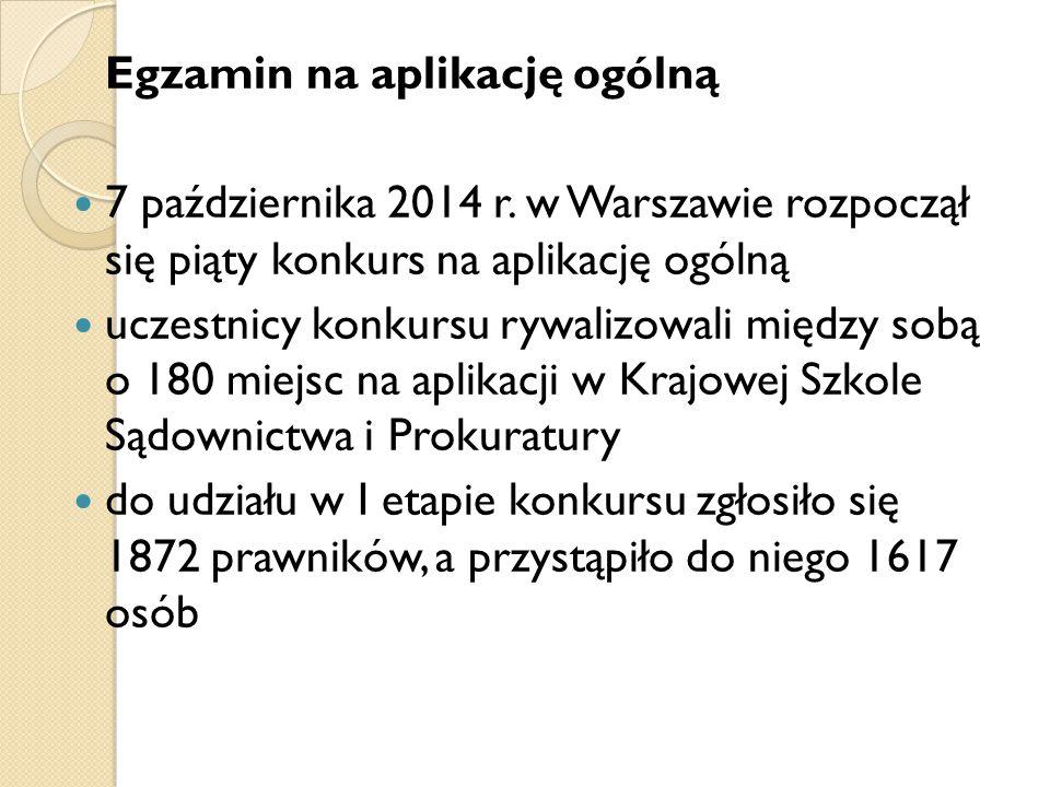 Egzamin na aplikację ogólną 7 października 2014 r. w Warszawie rozpoczął się piąty konkurs na aplikację ogólną uczestnicy konkursu rywalizowali między