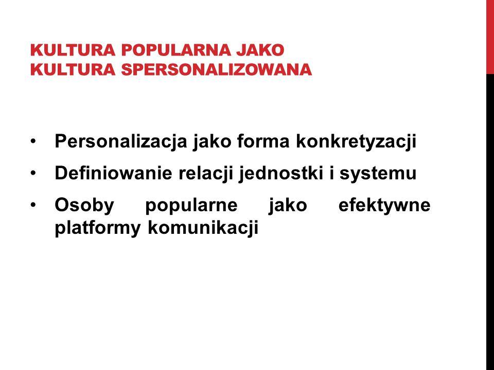 KULTURA POPULARNA JAKO KULTURA SPERSONALIZOWANA Personalizacja jako forma konkretyzacji Definiowanie relacji jednostki i systemu Osoby popularne jako