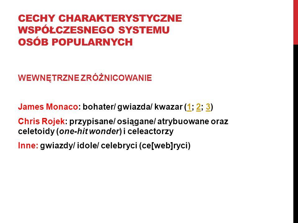 CECHY CHARAKTERYSTYCZNE WSPÓŁCZESNEGO SYSTEMU OSÓB POPULARNYCH WEWNĘTRZNE ZRÓŻNICOWANIE James Monaco: bohater/ gwiazda/ kwazar (1; 2; 3)123 Chris Roje