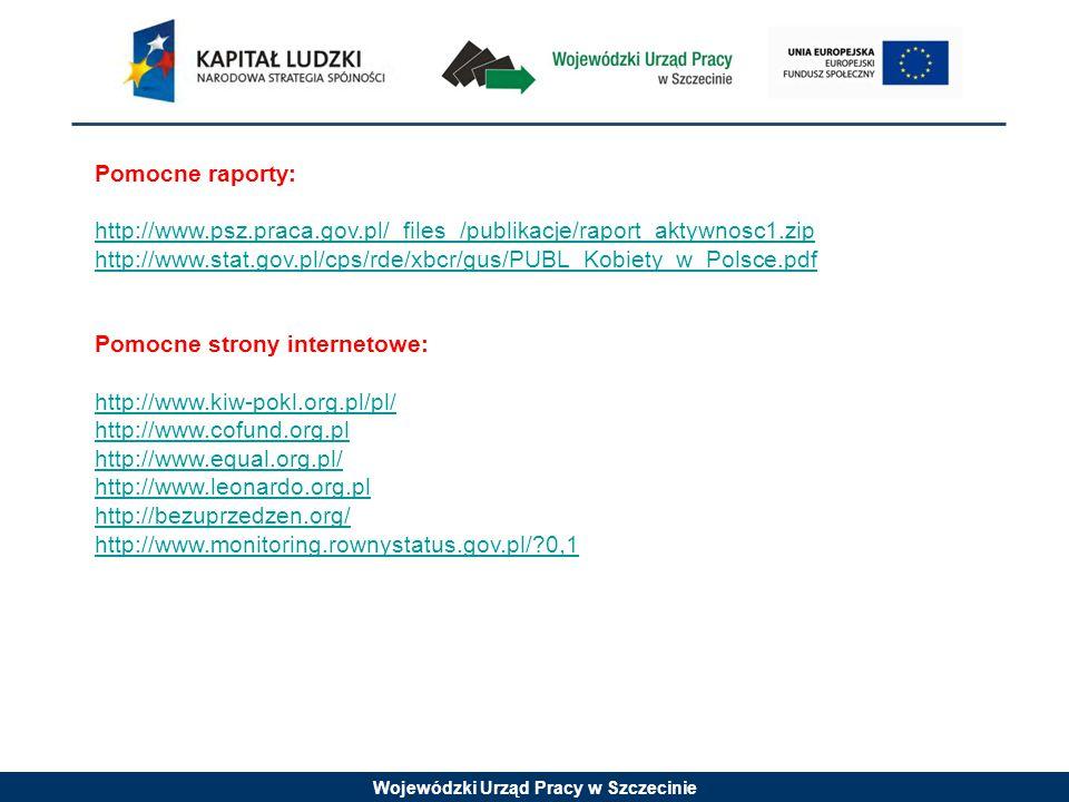 Wojewódzki Urząd Pracy w Szczecinie Pomocne raporty: http://www.psz.praca.gov.pl/_files_/publikacje/raport_aktywnosc1.zip http://www.stat.gov.pl/cps/rde/xbcr/gus/PUBL_Kobiety_w_Polsce.pdf Pomocne strony internetowe: http://www.kiw-pokl.org.pl/pl/ http://www.cofund.org.pl http://www.equal.org.pl/ http://www.leonardo.org.pl http://bezuprzedzen.org/ http://www.monitoring.rownystatus.gov.pl/ 0,1