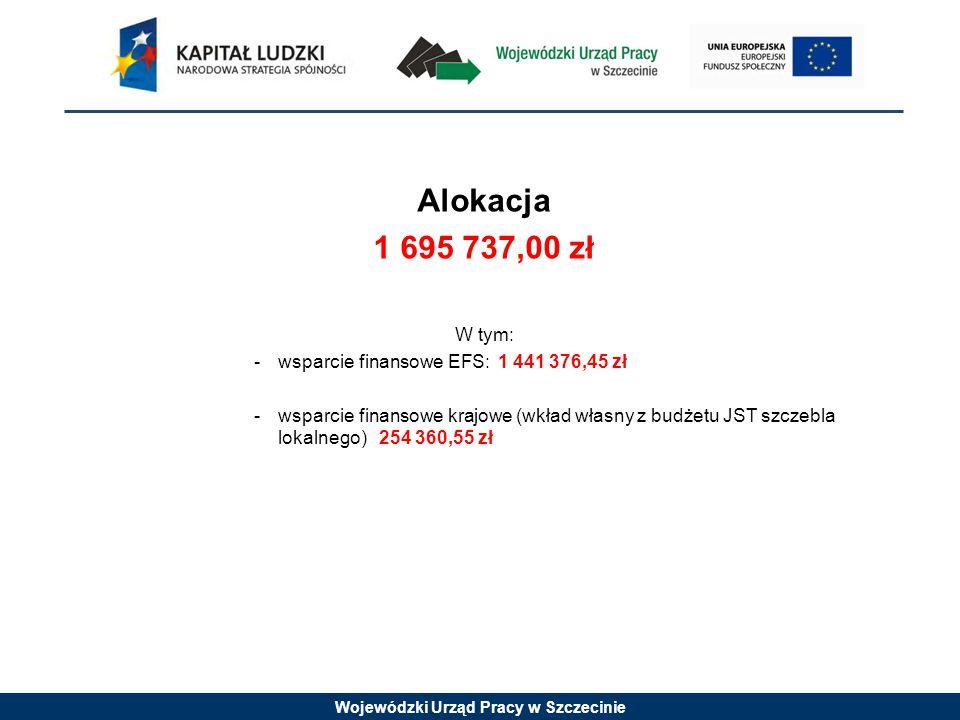 Wojewódzki Urząd Pracy w Szczecinie Alokacja 1 695 737,00 zł W tym: -wsparcie finansowe EFS: 1 441 376,45 zł -wsparcie finansowe krajowe (wkład własny z budżetu JST szczebla lokalnego) 254 360,55 zł