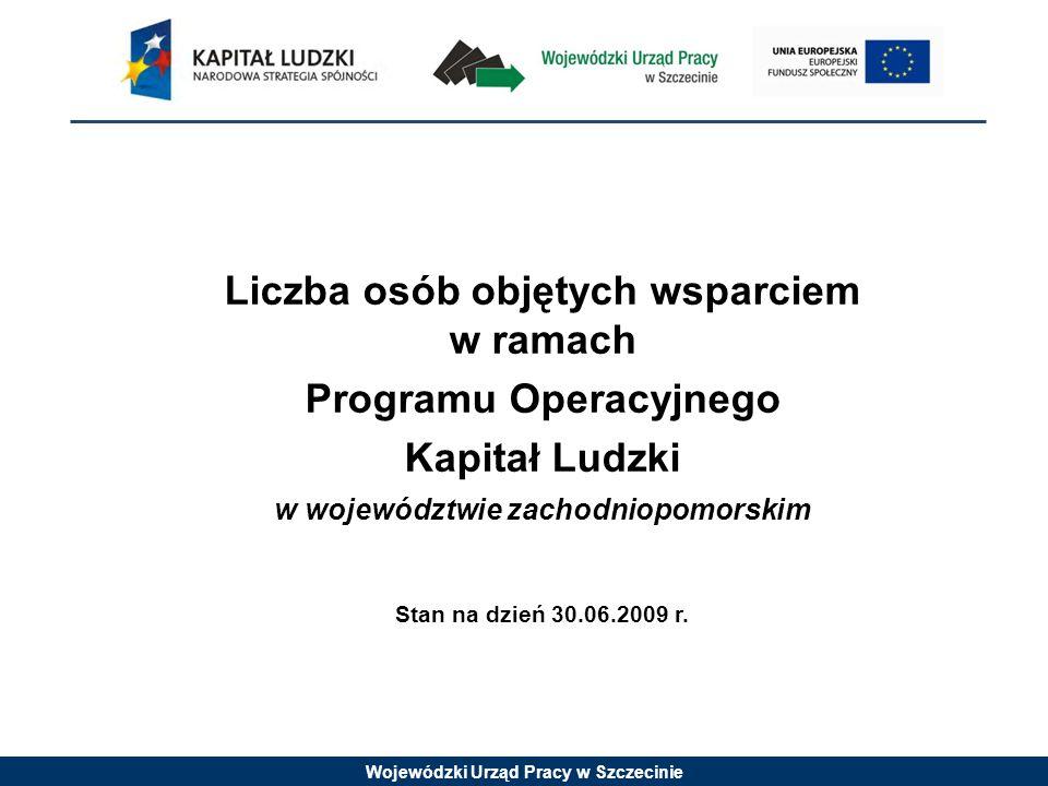 Wojewódzki Urząd Pracy w Szczecinie Formy wsparcia w ramach PO KL 2007-2008 (na podstawie sprawozdania rzeczowego za I półrocze 2009 r.) PriorytetFormy wsparcia Liczba osób objętych wsparciem Priorytetu VI Rynek pracy otwarty dla wszystkich - szkolenia podnoszące kwalifikacje, - wsparcie psychologiczno-doradcze, - pośrednictwo pracy, poradnictwo zawodowe, - staże/praktyki zawodowe, subsydiowanie zatrudnienia.
