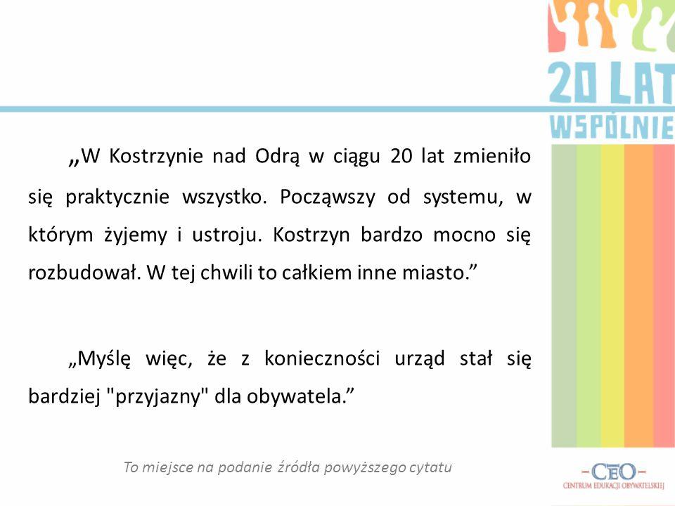 """"""" W Kostrzynie nad Odrą w ciągu 20 lat zmieniło się praktycznie wszystko."""