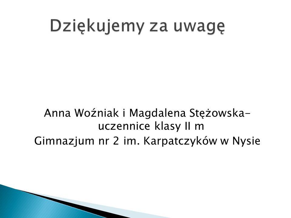 Anna Woźniak i Magdalena Stężowska- uczennice klasy II m Gimnazjum nr 2 im. Karpatczyków w Nysie