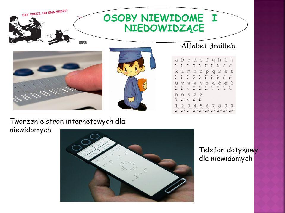 OSOBY NIEWIDOME I NIEDOWIDZĄCE Alfabet Braille'a Tworzenie stron internetowych dla niewidomych Telefon dotykowy dla niewidomych