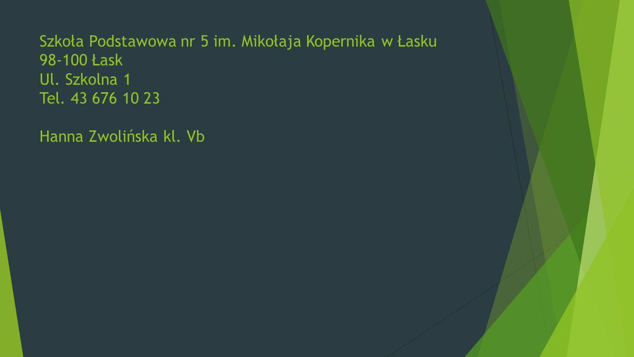 Szkoła Podstawowa nr 5 im. Mikołaja Kopernika w Łasku 98-100 Łask Ul. Szkolna 1 Tel. 43 676 10 23 Hanna Zwolińska kl. Vb