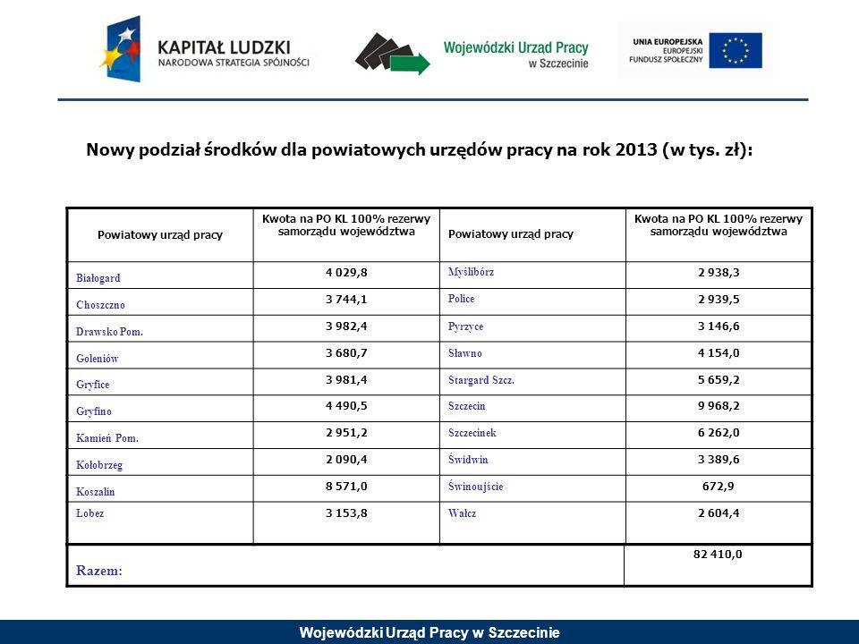 Wojewódzki Urząd Pracy w Szczecinie Nowy podział środków dla powiatowych urzędów pracy na rok 2013 (w tys.