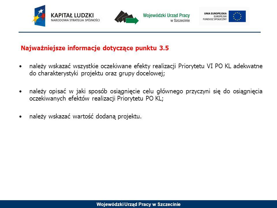 Wojewódzki Urząd Pracy w Szczecinie Najważniejsze informacje dotyczące punktu 3.5 należy wskazać wszystkie oczekiwane efekty realizacji Priorytetu VI PO KL adekwatne do charakterystyki projektu oraz grupy docelowej; należy opisać w jaki sposób osiągnięcie celu głównego przyczyni się do osiągnięcia oczekiwanych efektów realizacji Priorytetu PO KL; należy wskazać wartość dodaną projektu.