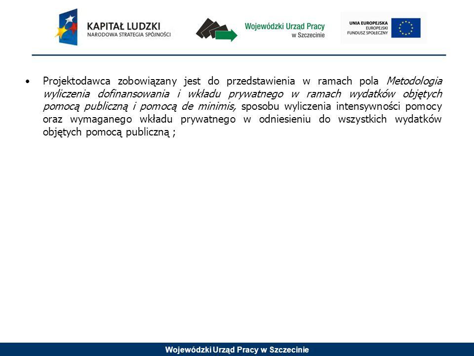 Wojewódzki Urząd Pracy w Szczecinie Projektodawca zobowiązany jest do przedstawienia w ramach pola Metodologia wyliczenia dofinansowania i wkładu prywatnego w ramach wydatków objętych pomocą publiczną i pomocą de minimis, sposobu wyliczenia intensywności pomocy oraz wymaganego wkładu prywatnego w odniesieniu do wszystkich wydatków objętych pomocą publiczną ;