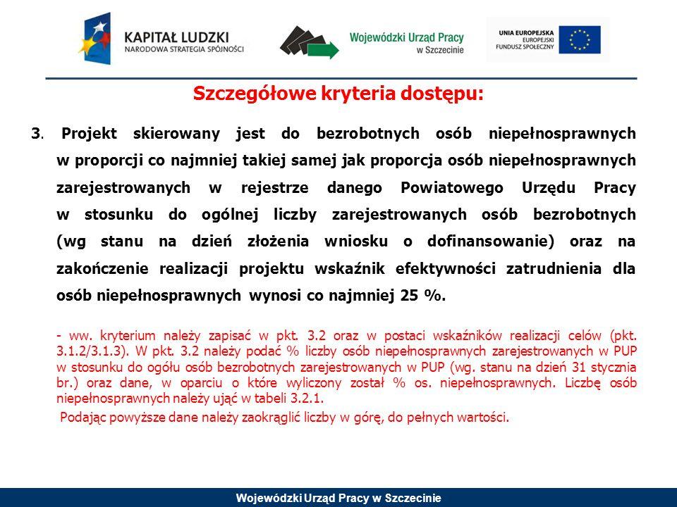 Wojewódzki Urząd Pracy w Szczecinie Szczegółowe kryteria dostępu: 3.