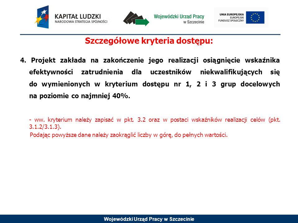 Wojewódzki Urząd Pracy w Szczecinie Szczegółowe kryteria dostępu: 4.