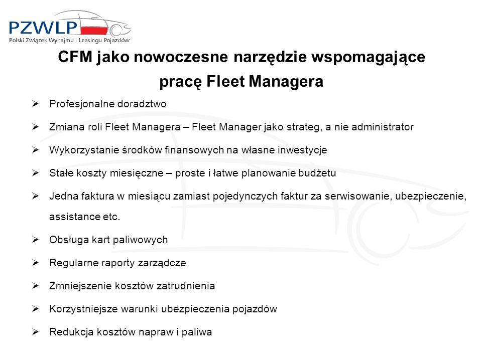 CFM jako nowoczesne narzędzie wspomagające pracę Fleet Managera  Profesjonalne doradztwo  Zmiana roli Fleet Managera – Fleet Manager jako strateg, a nie administrator  Wykorzystanie środków finansowych na własne inwestycje  Stałe koszty miesięczne – proste i łatwe planowanie budżetu  Jedna faktura w miesiącu zamiast pojedynczych faktur za serwisowanie, ubezpieczenie, assistance etc.