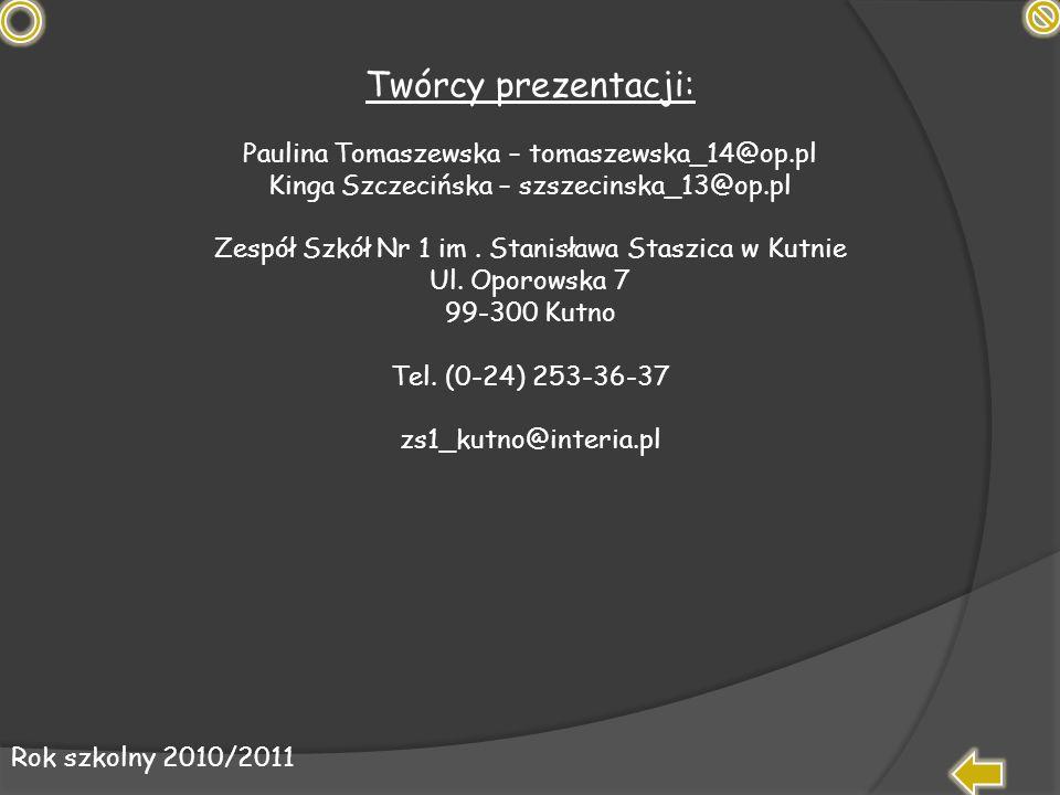 Twórcy prezentacji: Paulina Tomaszewska – tomaszewska_14@op.pl Kinga Szczecińska – szszecinska_13@op.pl Zespół Szkół Nr 1 im. Stanisława Staszica w Ku
