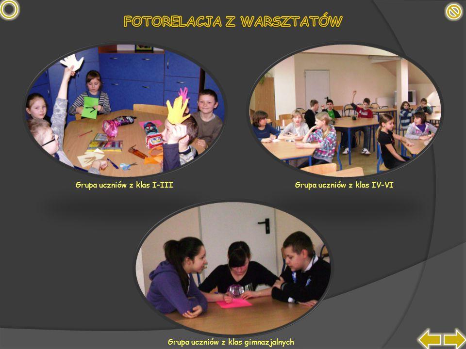 Grupa uczniów z klas I-IIIGrupa uczniów z klas IV-VI Grupa uczniów z klas gimnazjalnych