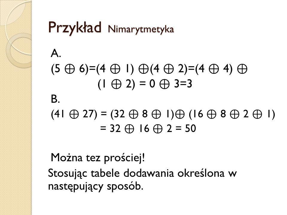 Przykład Nimarytmetyka A. (5 ⊕ 6)=(4 ⊕ 1) ⊕ (4 ⊕ 2)=(4 ⊕ 4) ⊕ (1 ⊕ 2) = 0 ⊕ 3=3 B. (41 ⊕ 27) = (32 ⊕ 8 ⊕ 1) ⊕ (16 ⊕ 8 ⊕ 2 ⊕ 1) = 32 ⊕ 16 ⊕ 2 = 50 Możn