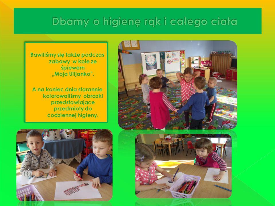 """Bawiliśmy się także podczas zabawy w kole ze śpiewem """"Moja Ulijanko"""". A na koniec dnia starannie kolorowaliśmy obrazki przedstawiające przedmioty do c"""