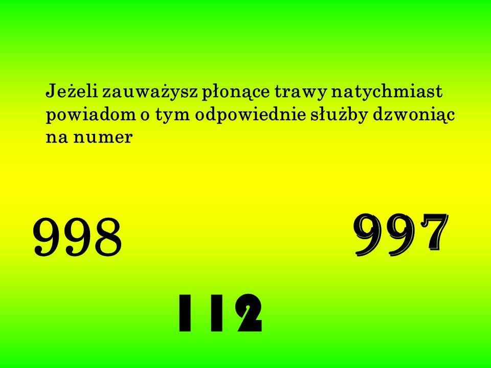 998 997 112 Jeżeli zauważysz płonące trawy natychmiast powiadom o tym odpowiednie służby dzwoniąc na numer