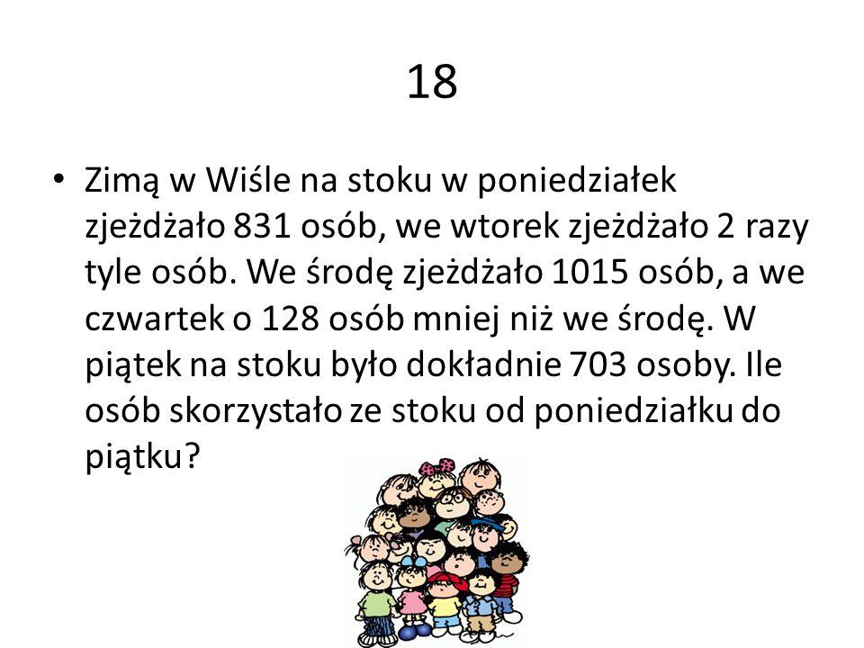 18 Zimą w Wiśle na stoku w poniedziałek zjeżdżało 831 osób, we wtorek zjeżdżało 2 razy tyle osób. We środę zjeżdżało 1015 osób, a we czwartek o 128 os