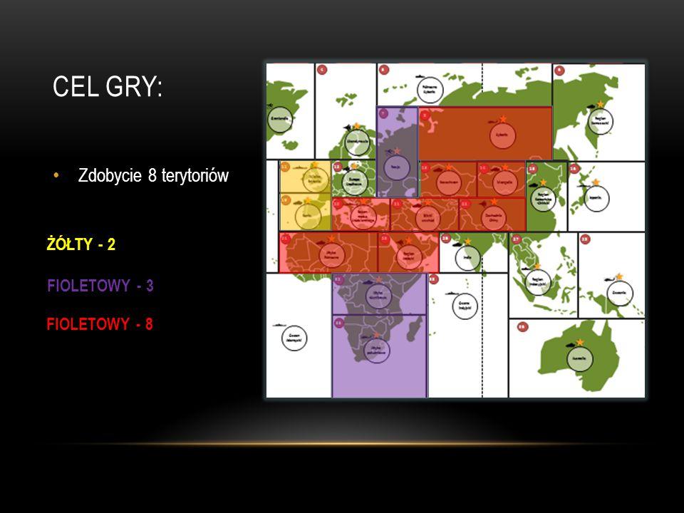 CEL GRY: Zdobycie 8 terytoriów ŻÓŁTY - 2 FIOLETOWY - 3 FIOLETOWY - 8