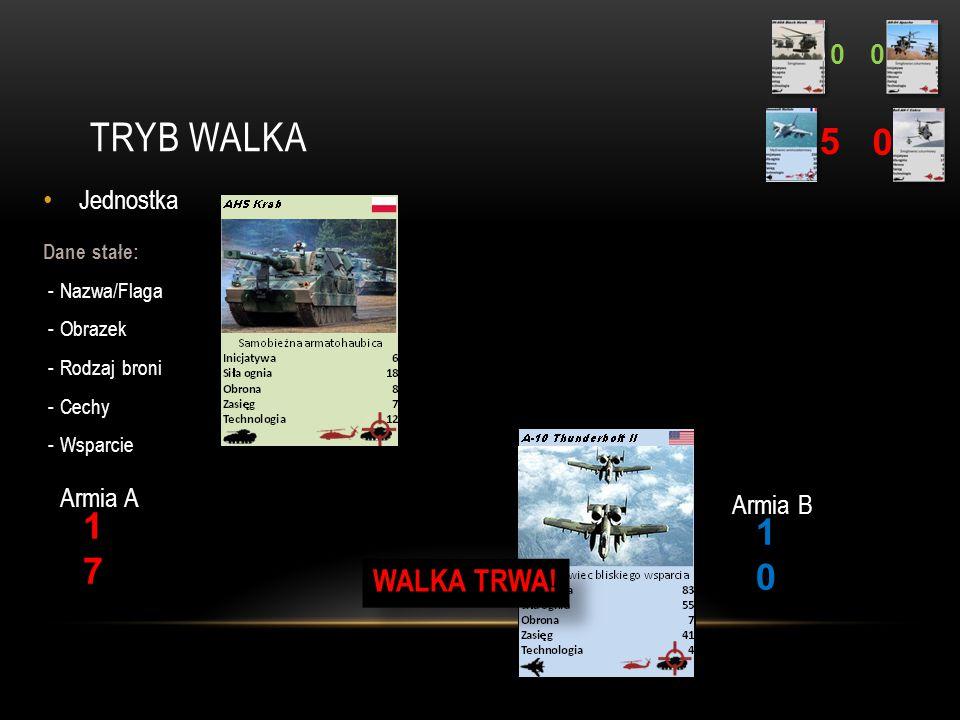 TRYB WALKA 0 5 00 Jednostka Dane stałe: - Nazwa/Flaga - Obrazek - Rodzaj broni - Cechy - Wsparcie WALKA TRWA.