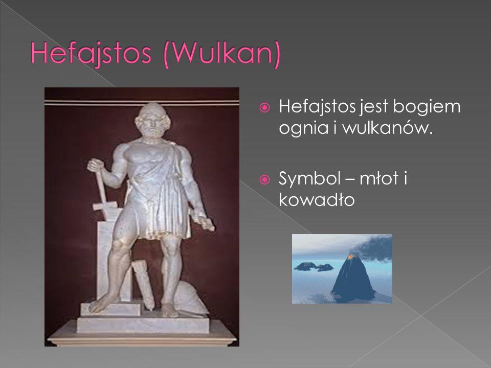  Hefajstos jest bogiem ognia i wulkanów.  Symbol – młot i kowadło