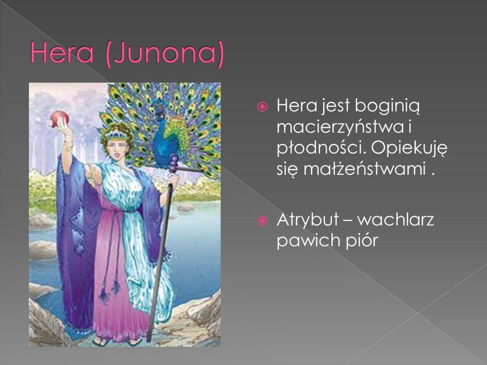  Hera jest boginią macierzyństwa i płodności.Opiekuję się małżeństwami.